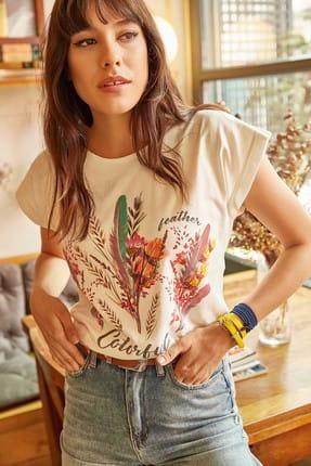 Olalook Kadın Ekru Tüylü Baskılı T-shirt TSH-19000125 3