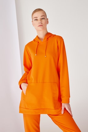 Trendyol Modest Turuncu Kapüşonlu Örme Sweatshirt TCTSS21SW0379 3