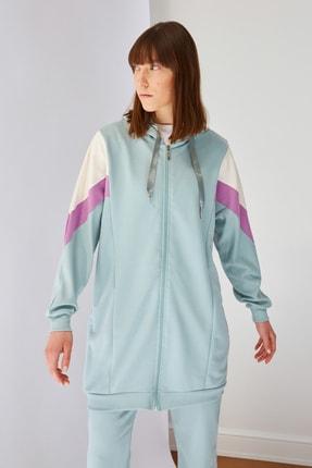 Trendyol Modest Mint Panelli Fermuarlı Örme Sweatshirt TCTSS21SW0340 0