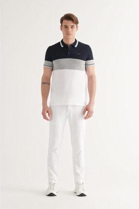 Avva Erkek Lacivert Polo Yaka Parçalı T-shirt A11y1025 4