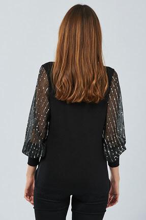 Cool & Sexy Kadın Siyah Kolu Payetli Bluz BK5024 1