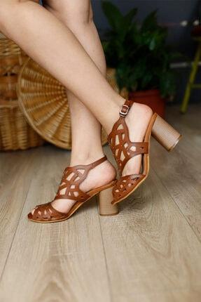 PUNTO Kadın Taba Topuklu Sandalet 2