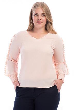 Lir Kadın Kol Üstü Ponponlu Bluz Somon 2240 0