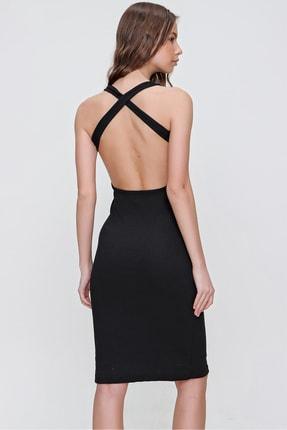 Trend Alaçatı Stili Kadın Siyah Sırtı Çapraz Bantlı Fitilli Elbise ALC-X6166 3