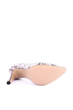 Dgn Beyaz Yılan Kadın Klasik Topuklu Ayakkabı 200-148 3
