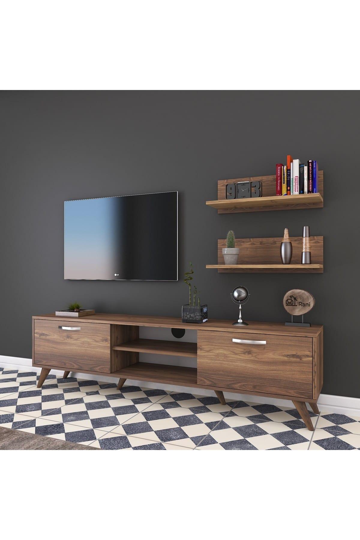 Rani A9 Duvar Raflı Kitaplıklı Tv Ünitesi Modern Ayaklı Tv Sehpası Ceviz M48