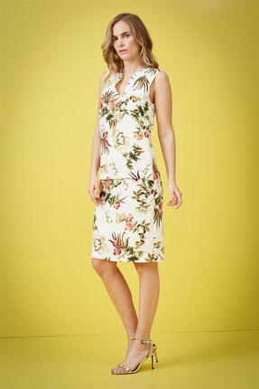 Journey Kadın Çiçekli Krem Elbise 18YELB949 2