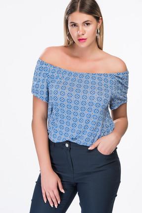 Picture of Kadın Mavi Desenli ve Omzu Açık T-Shirt SM2R4052