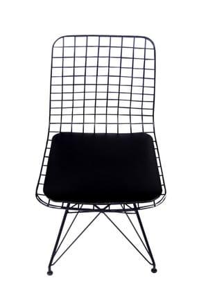 Evdemo Dekor Siyah Tel Metal Sandalye 2