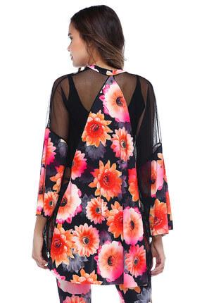 Quincey Kadın Desenli Çiçek Desenli Tül Detaylı Kimono HK2128 2