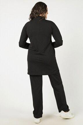 Womenice Siyah Önü Fermuarlı Şeritli Takım 3