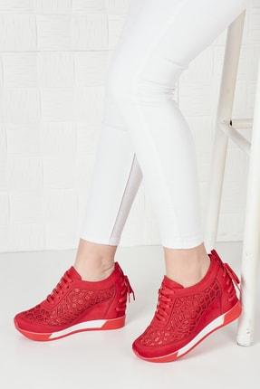 Weynes Kadın Kırmızı Süet Bağcıklı Yüksek Taban Gizli Topuk Spor Ayakkabı Ba20250 2