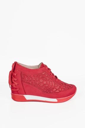 Weynes Kadın Kırmızı Süet Bağcıklı Yüksek Taban Gizli Topuk Spor Ayakkabı Ba20250 3