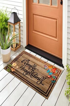 Evsebu Pienso Home Evimize Hoşgeldiniz Tahta Desenli Kapı Önü Paspası 4