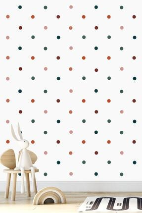 Norm Design 204 Adet Karışık Renkli Yuvarlak Duvar Stickerı 1