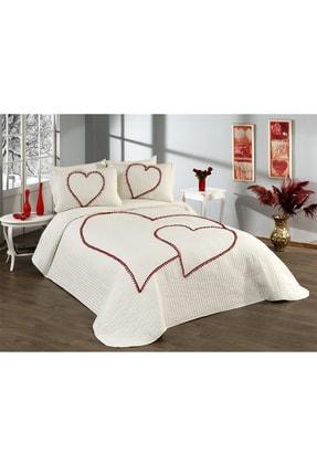 Evlen Home Kalbim Ponponlu Yatak Örtüsü Ç.k Krem 4