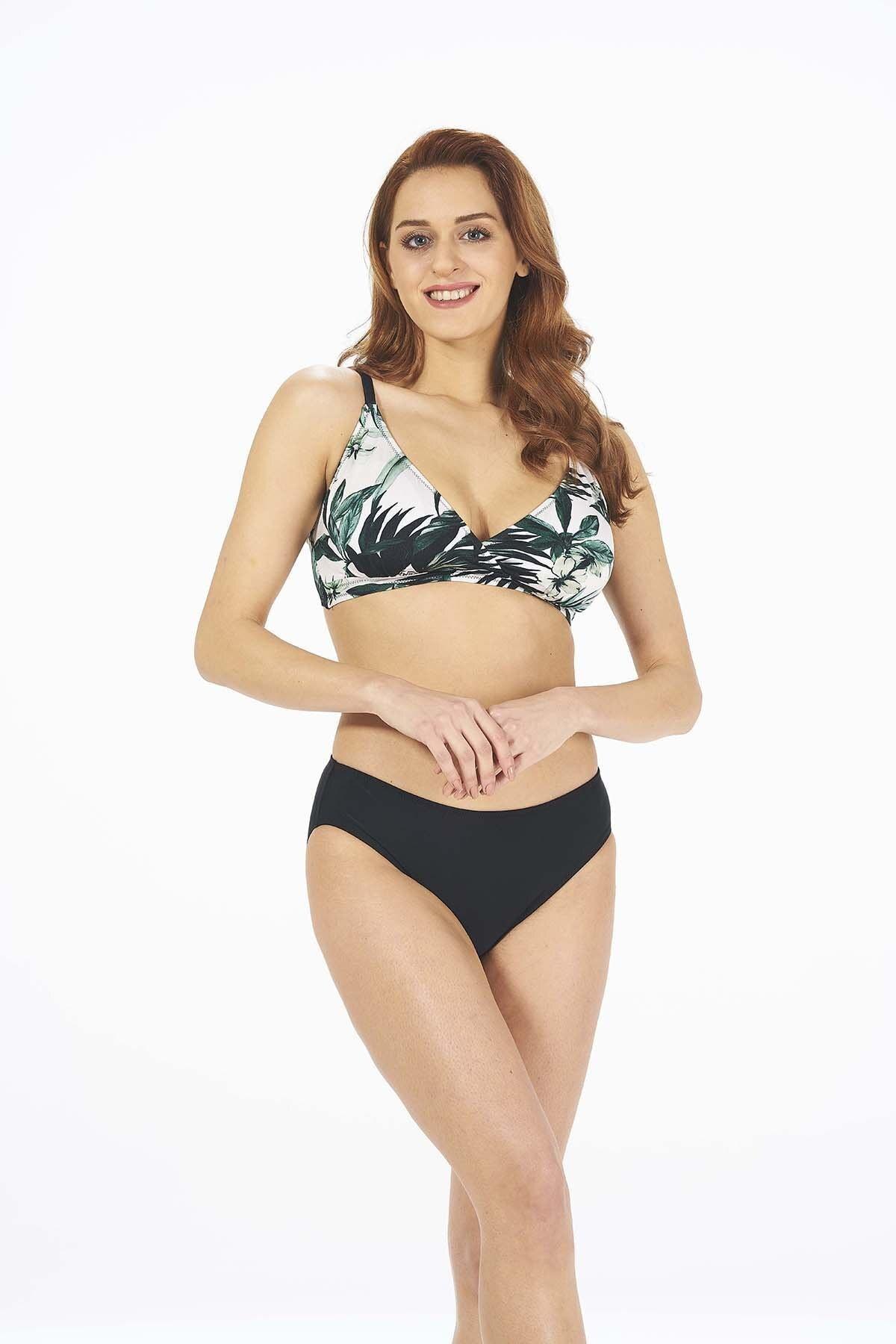 Estiva Kadın Yeşil Yaprak Desenli Kruvaze Toparlayıcı Bikini