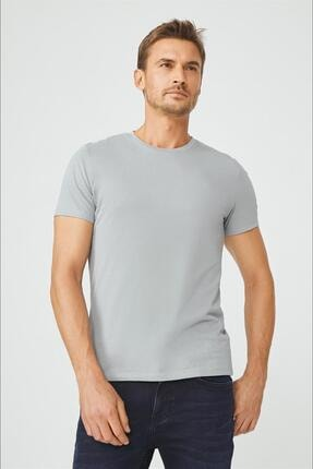 Avva Erkek Gri Bisiklet Yaka Düz T-shirt E001000 0