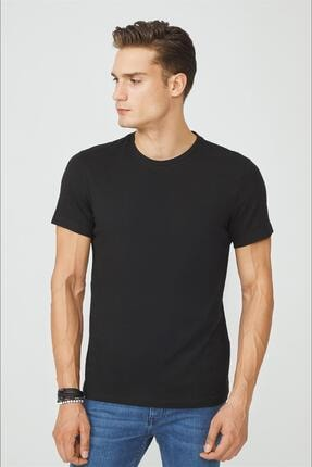 Avva Erkek Siyah Bisiklet Yaka Düz T-shirt E001000 1