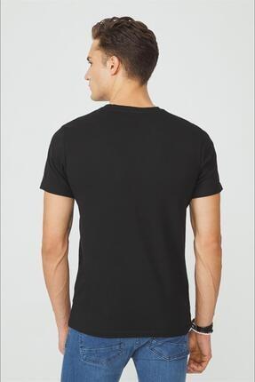 Avva Erkek Siyah Bisiklet Yaka Düz T-shirt E001000 2