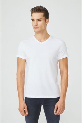 Avva Erkek Beyaz V Yaka Düz T-shirt E001001 0