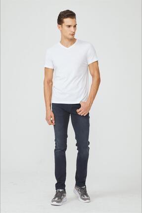 Avva Erkek Beyaz V Yaka Düz T-shirt E001001 3
