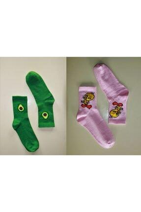 Çoraphane Unisex Karışık Desenli 10 Çift Renkli Kolej Çorabı 2