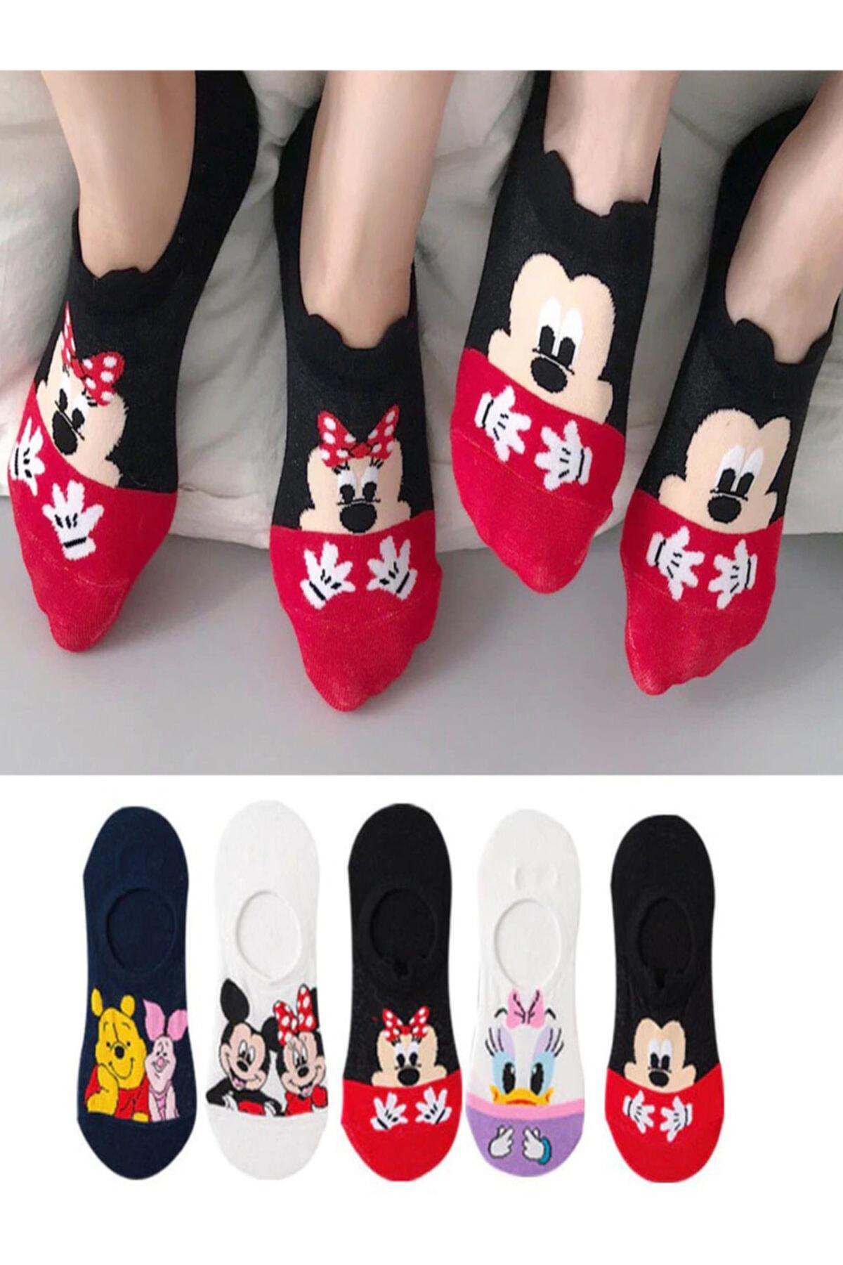 Kadın Çok Renkli Görünmez Spor Ayakkabı Çorabı 5 Çift