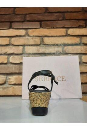 SERRACE Kadın Siyah Sandalet 4