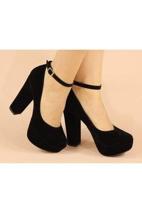Kadın Abiye Platform Siyah Süet Ayakkabı PLATFORM