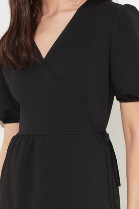 TRENDYOLMİLLA Siyah Kruvaze Yaka Örme Elbise TWOSS21EL0166 3