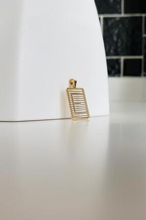 Bayar Gold Kadın Sarı Telli Taşsız E Harf Altın  Kolye Ucu 0