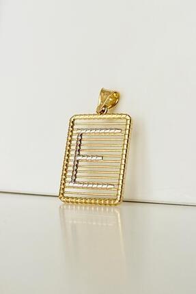 Bayar Gold Kadın Sarı Telli Taşsız E Harf Altın  Kolye Ucu 1