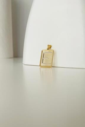 Bayar Gold Kadın Sarı Telli Taşsız E Harf Altın  Kolye Ucu 3
