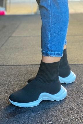 Modayı Tıkla Kadın  Yüksek Taban Çorap Model Siyah Ayakkabı 1