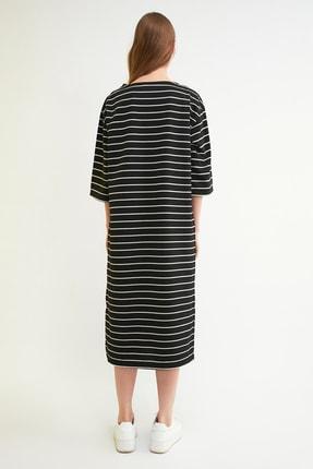 TRENDYOLMİLLA Siyah Çizgili Midi Sweat Örme Elbise TWOAW21EL0914 3