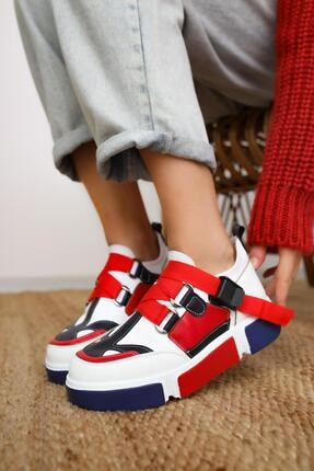 Limoya Lana Deri Kırmızı/beyaz Lastikli Spor Ayakkabı 0