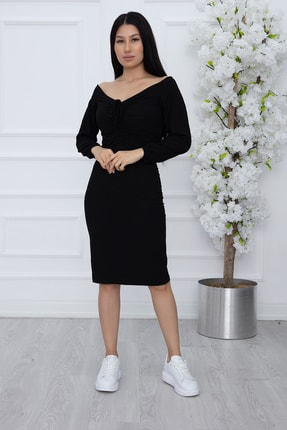 PULLIMM Kadın Siyah Göğüs Gipeli Kaşkorse Elbise 2666 0