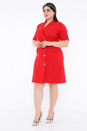 etselements Kruvaze Yaka Ön Kısmı Düğme Detaylı Midi Ofis Elbise 1