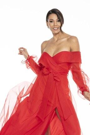 Abiye Sarayı Kadın Kırmızı Kayık Yaka Yırtmaç Ve Kemer Detaylı Tül Uzun Abiye Elbise 2