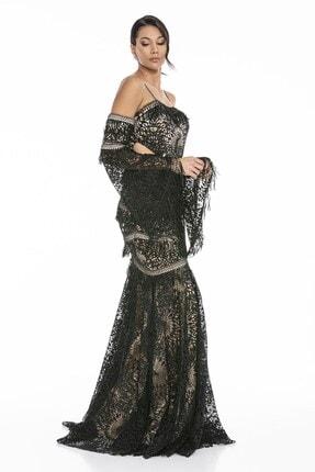 Abiye Sarayı Kadın Siyah Bel ve Kol Detaylı Askılı Balık Uzun Abiye Elbise 3