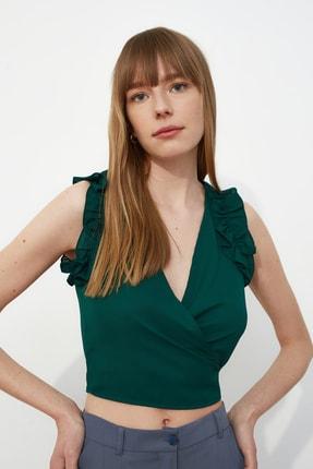 Zümrüt Yeşili Volanlı Bluz TWOSS21BZ0937