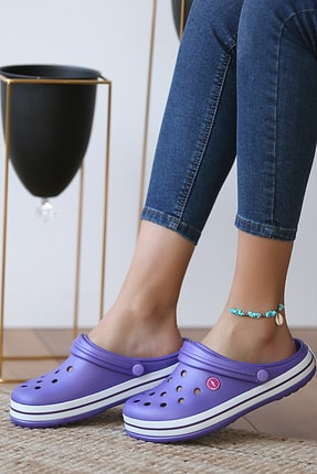 Pembe Potin Unisex Mor Sandalet 0