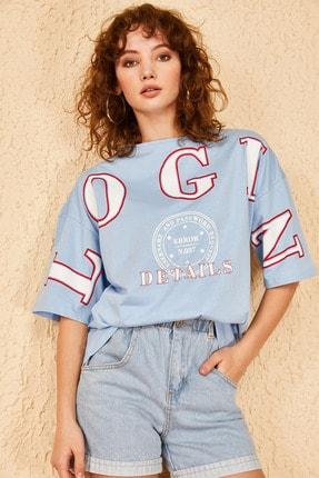 Bianco Lucci Kadın Login Baskılı Oversize Tshirt 1