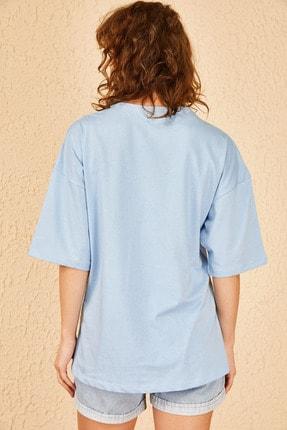 Bianco Lucci Kadın Login Baskılı Oversize Tshirt 4