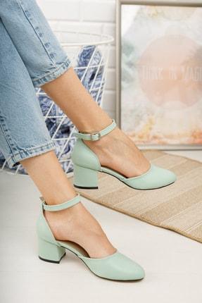 MERVE BAŞ ® Mint Yeşili Cilt Bilekten Tek Bant Kalın Topuklu Klasik Ayakkabı 1