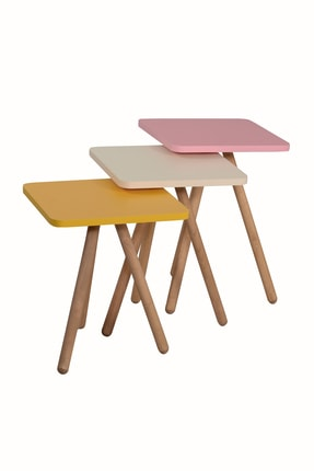 interGO Renkli Üçlü Zigon Sehpa Ahşap Ayaklı Kare Tasarım Pastel Renkler Sarı Krem Pembe 2