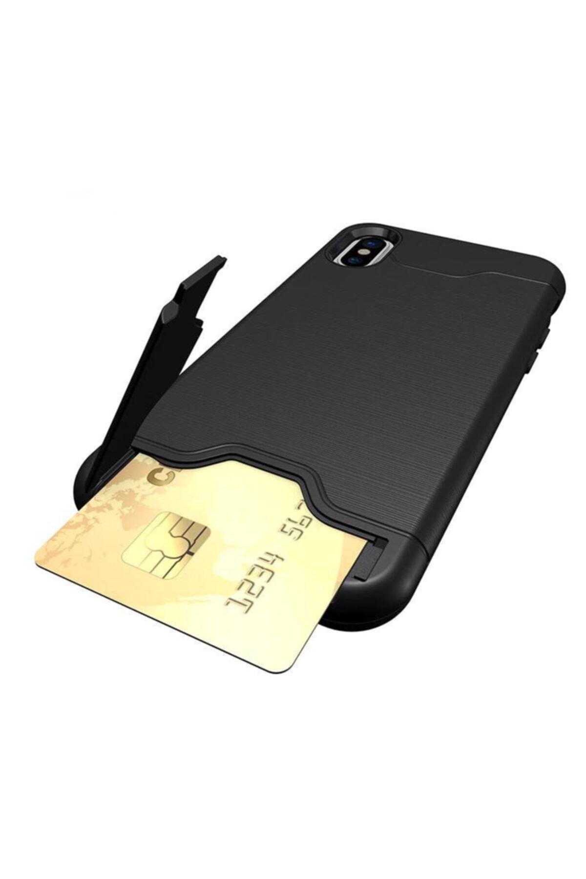 Miyosa Iphone X Xs Siyah Kart Bölmeli Cüzdan Kılıf