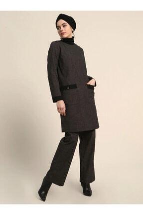 Kadın Antrasit Geniş Paça Pantolon resmi