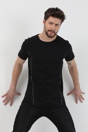 XHAN Siyah Yanı Baskılı T-shirt 1kxe1-44621-02 2